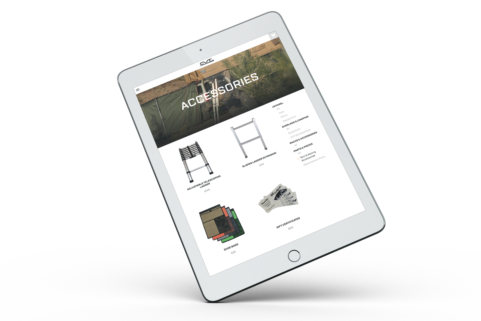 Cascadia Vehicle Tents gear page responsive tablet design