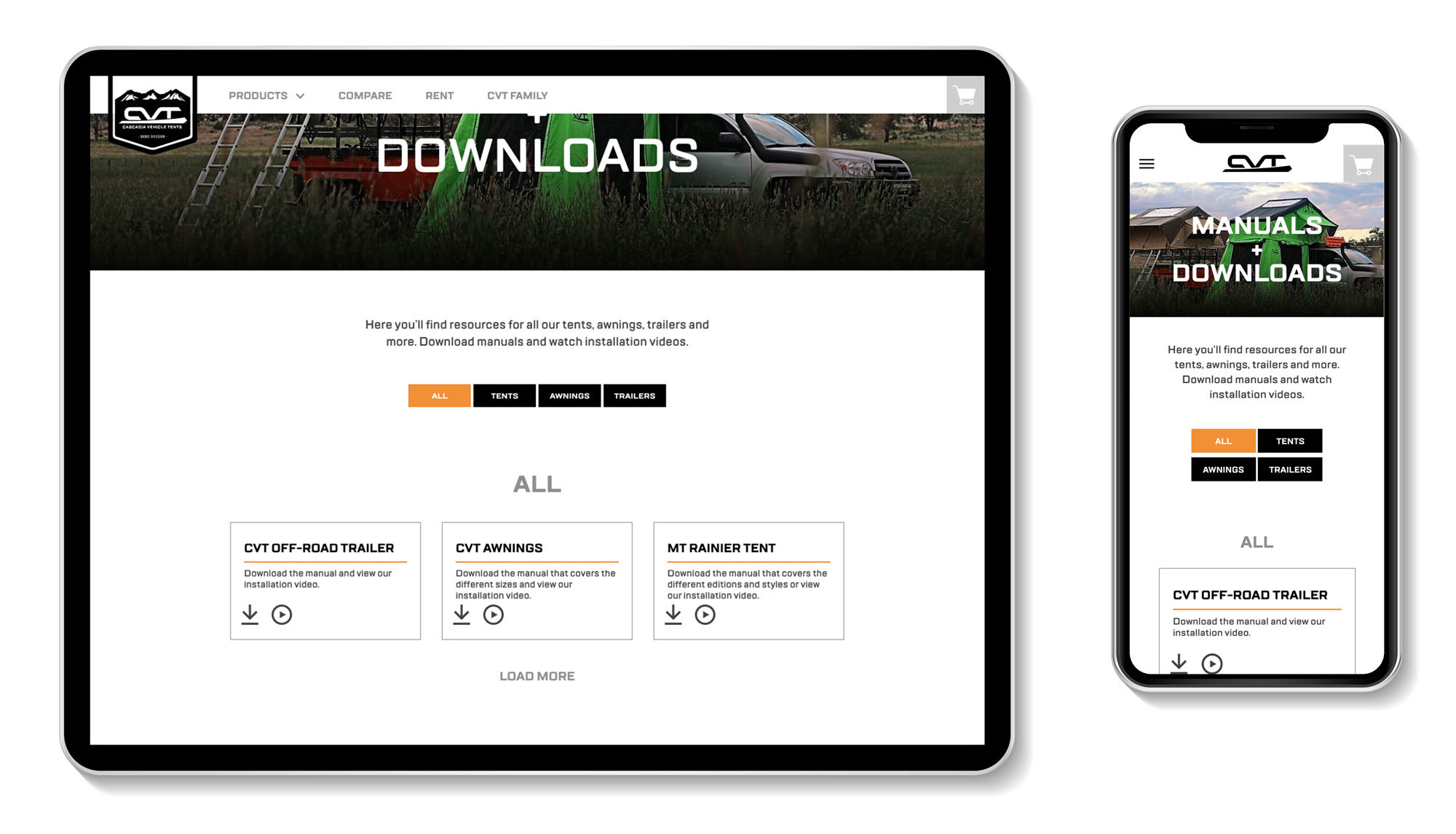 Cascadia Vehicle Tents - responsive design for manuals and downloads page on mobile phone and tablet