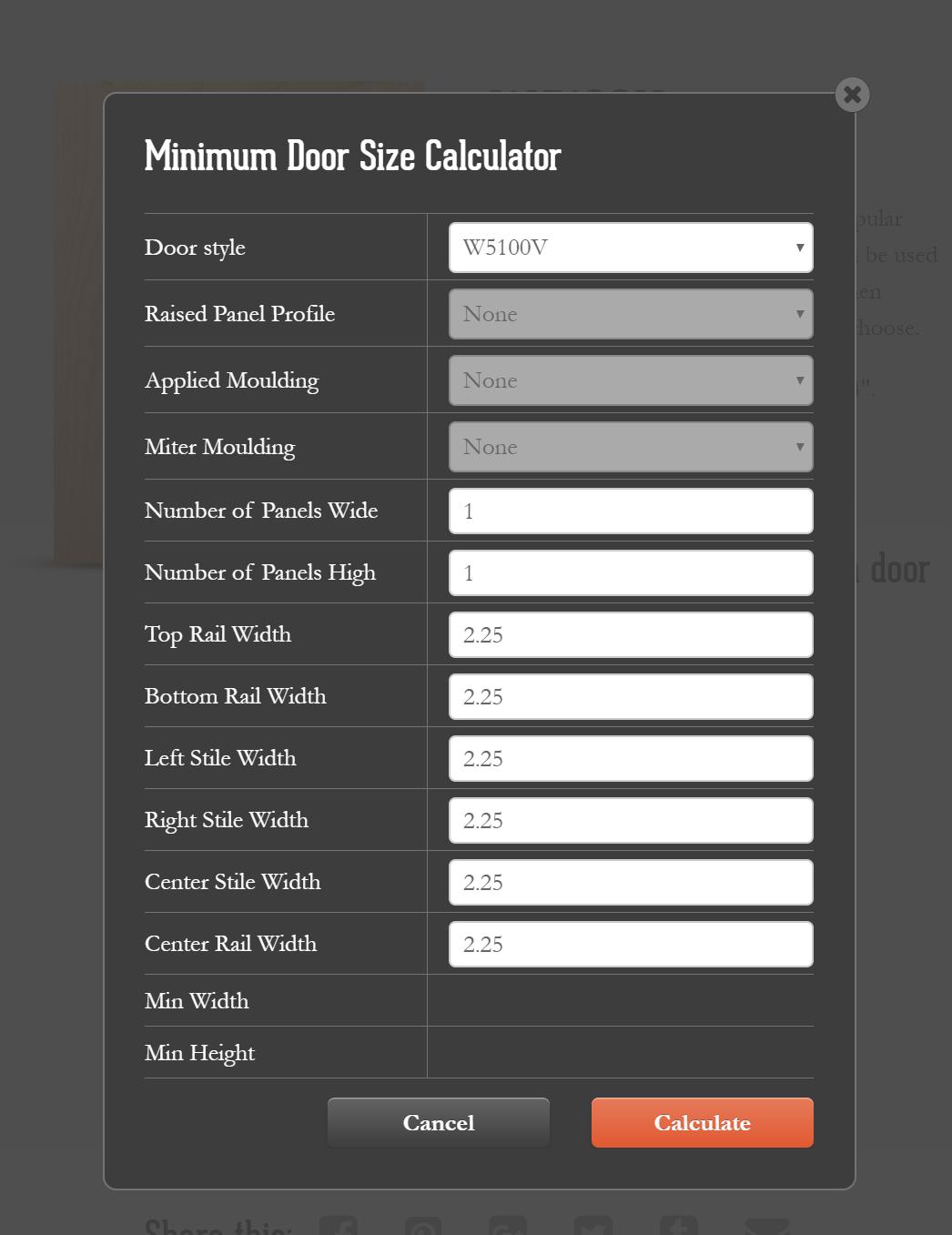 Design Craft Door - Custom Door Size Calculator Plugin