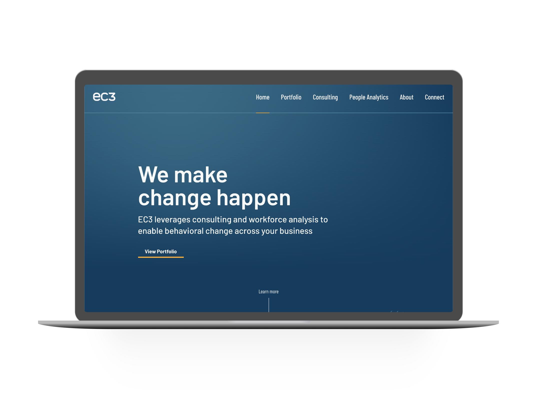 EC3 Home Page after design - on laptop