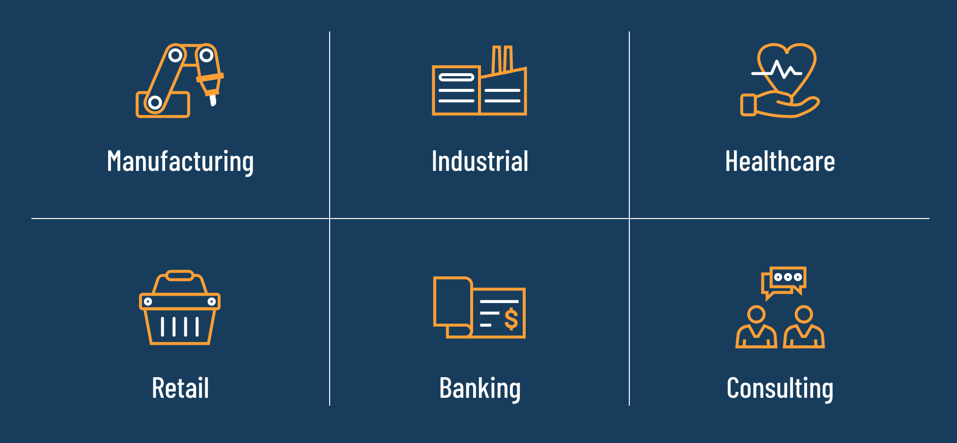 EC3 Icons Created by Data Driven Design - Retail, Industrial, Healthcare, Manfacturing Banking and Consulting