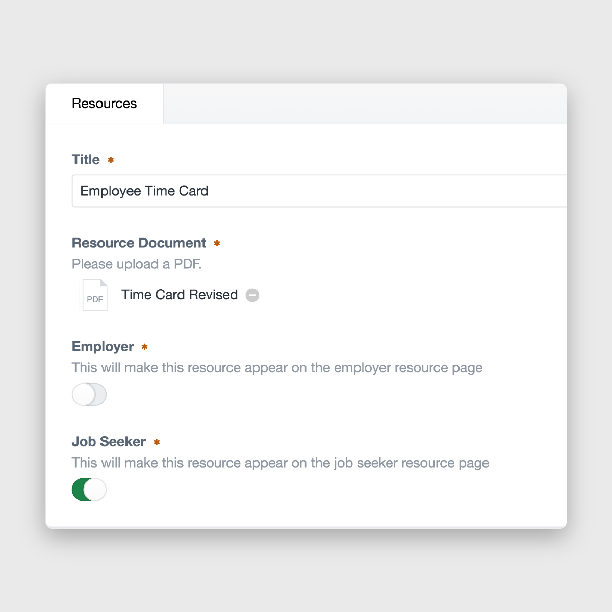 Employers Overload craft cms backend resource choices toggles