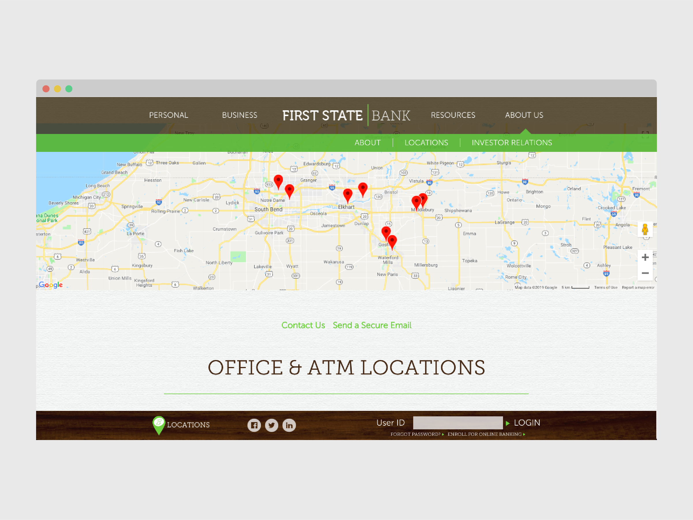 First State Bank locations after web development
