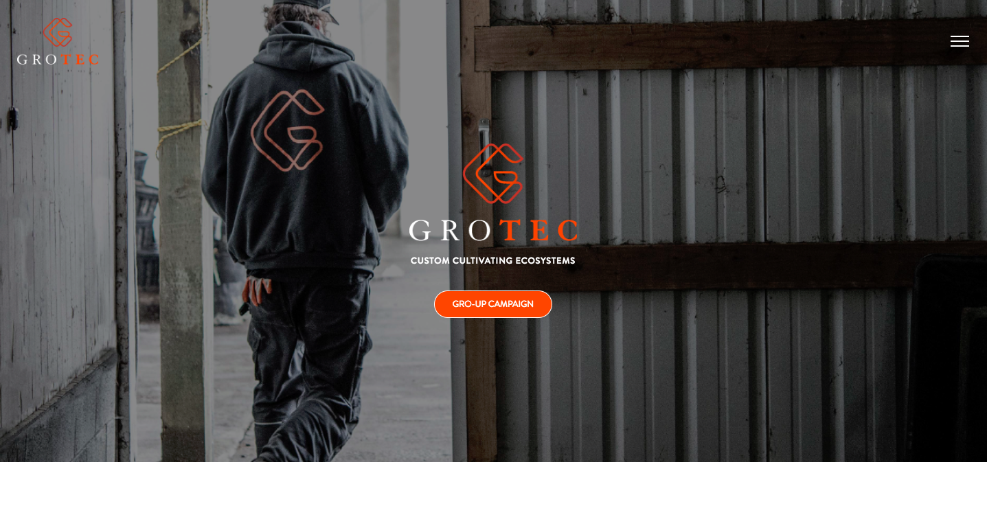Grotec homepage after web development
