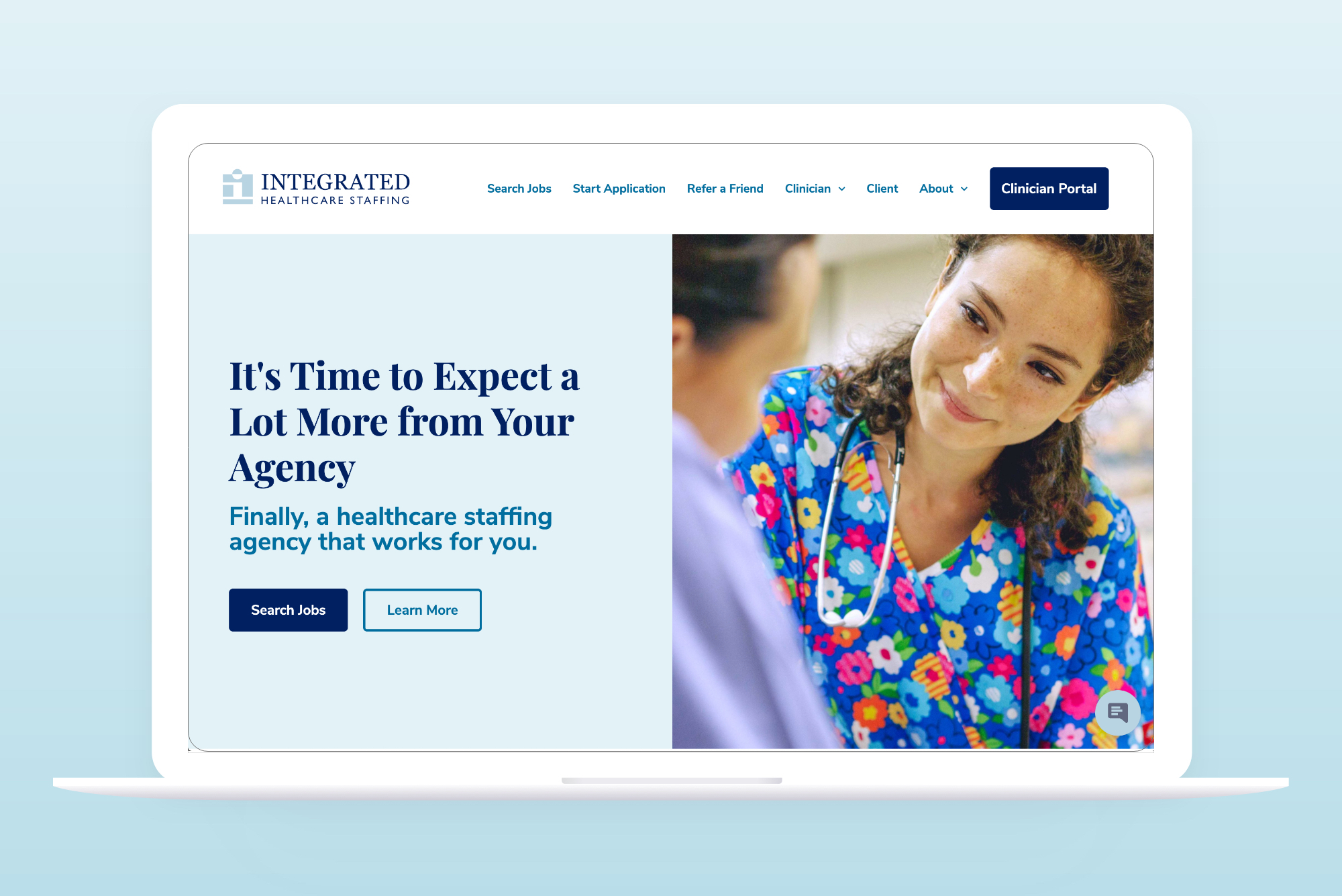 Integrated Health Solutions home page after design and web development - on laptop