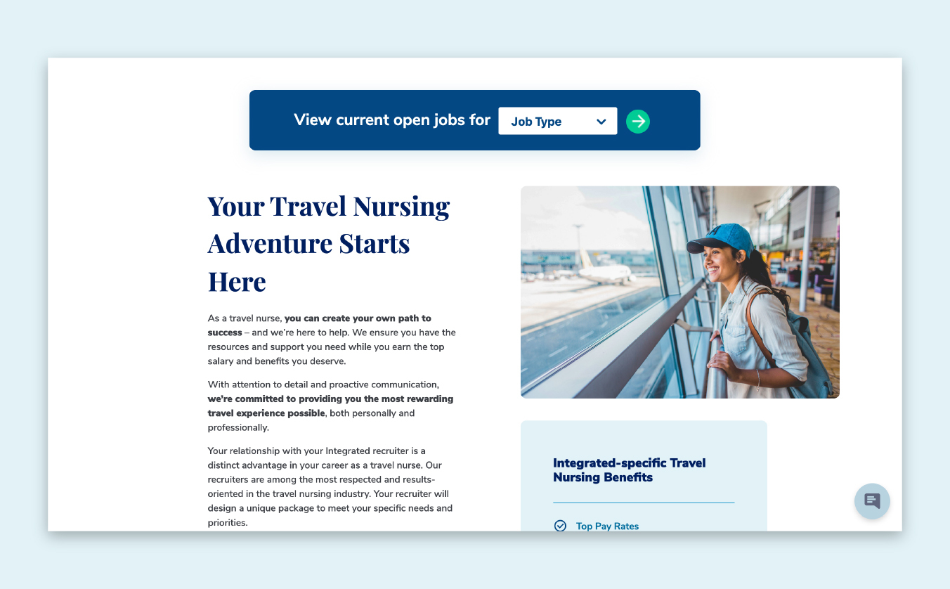 Integrated Healthcare Staffing - Desktop Travel Nursing Page with Search