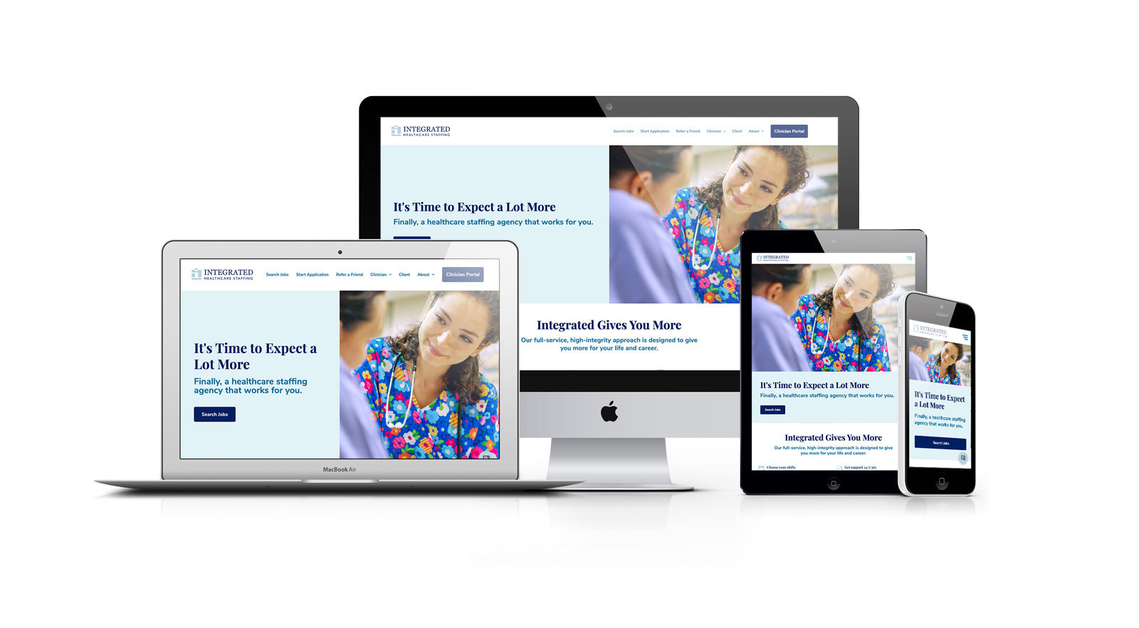 Integrated Healthcare Staffing - Responsive Website on Phone, Tablet, Laptop and Desktop
