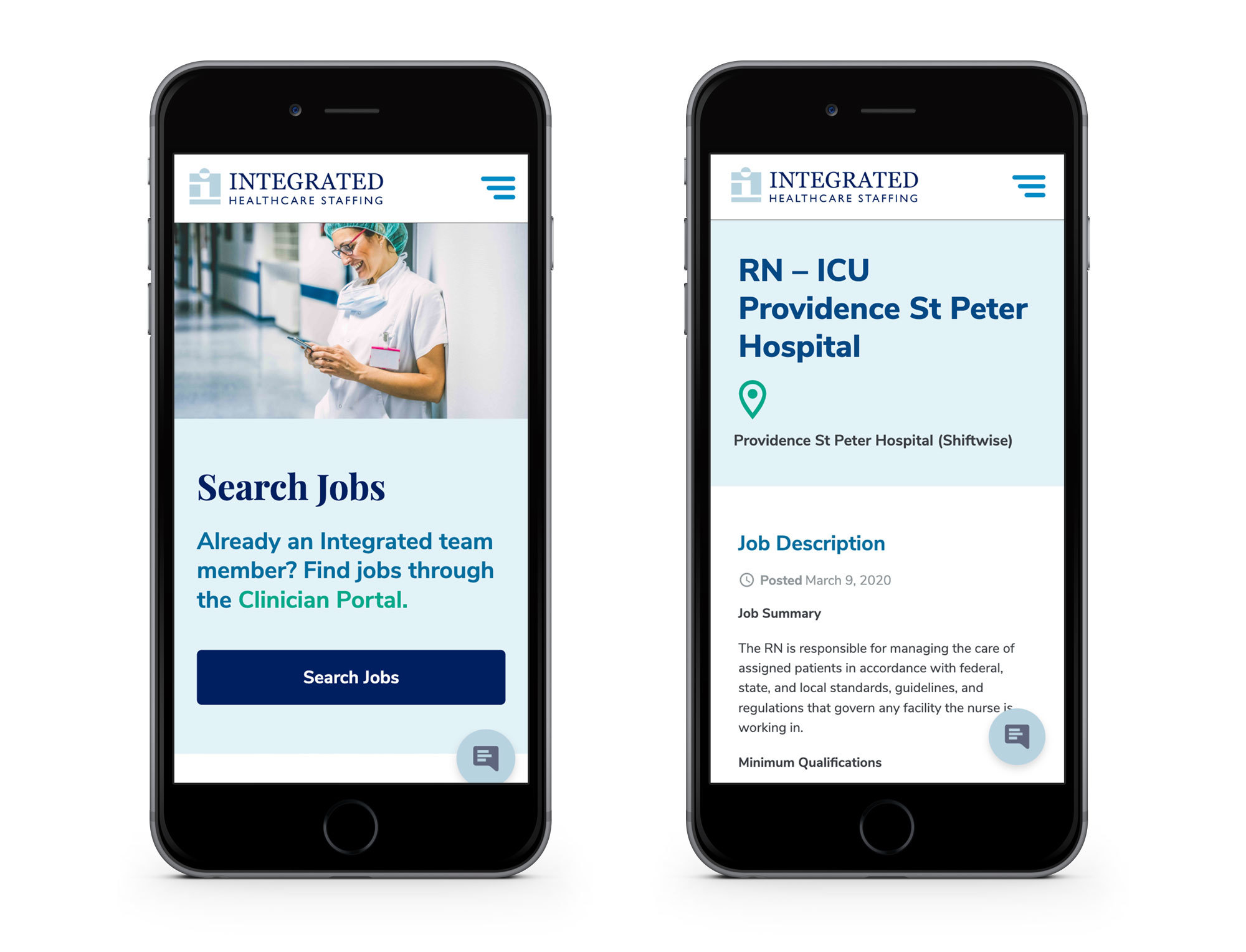 Integrated Healthcare Staffing - Mobile Phone Job Search and Results Page