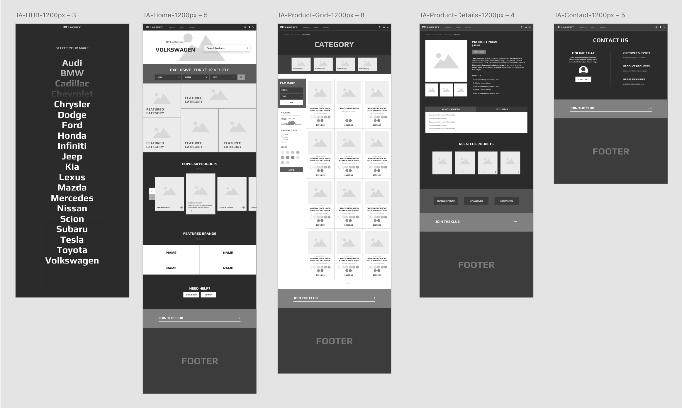Inject Auto website design wireframes