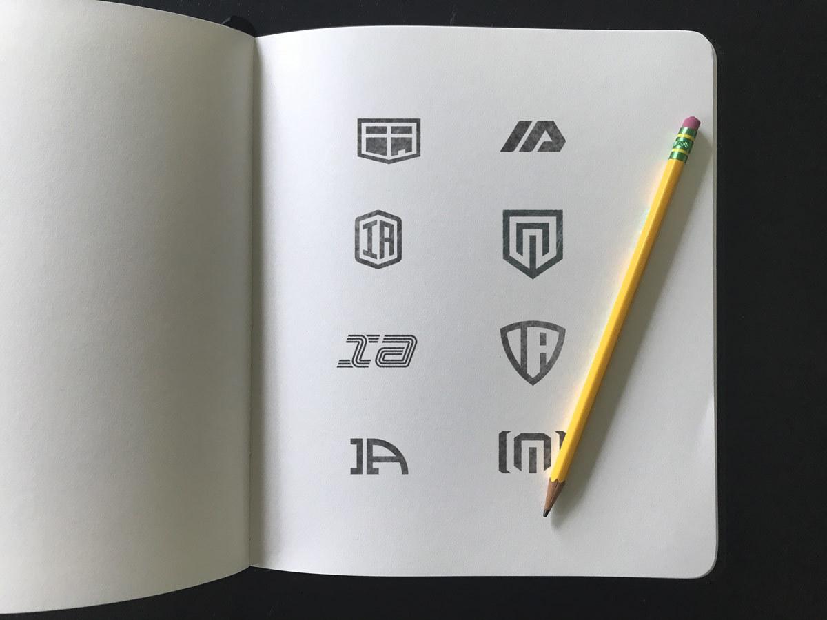 Inject Auto logo design sketches