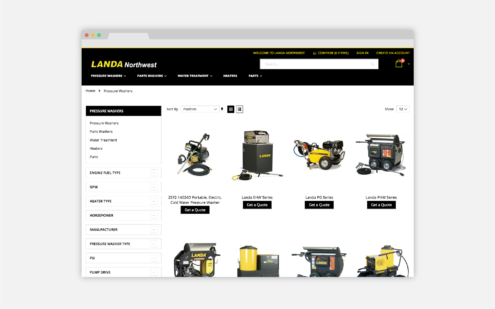 Landa Northwest Magento e-commerce product grid