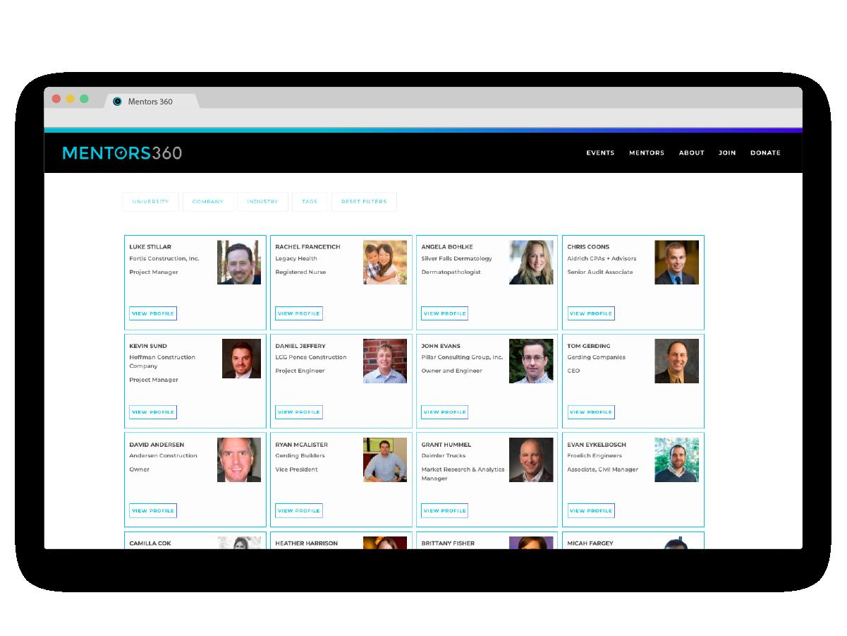 Mentors360 - Mentors Page