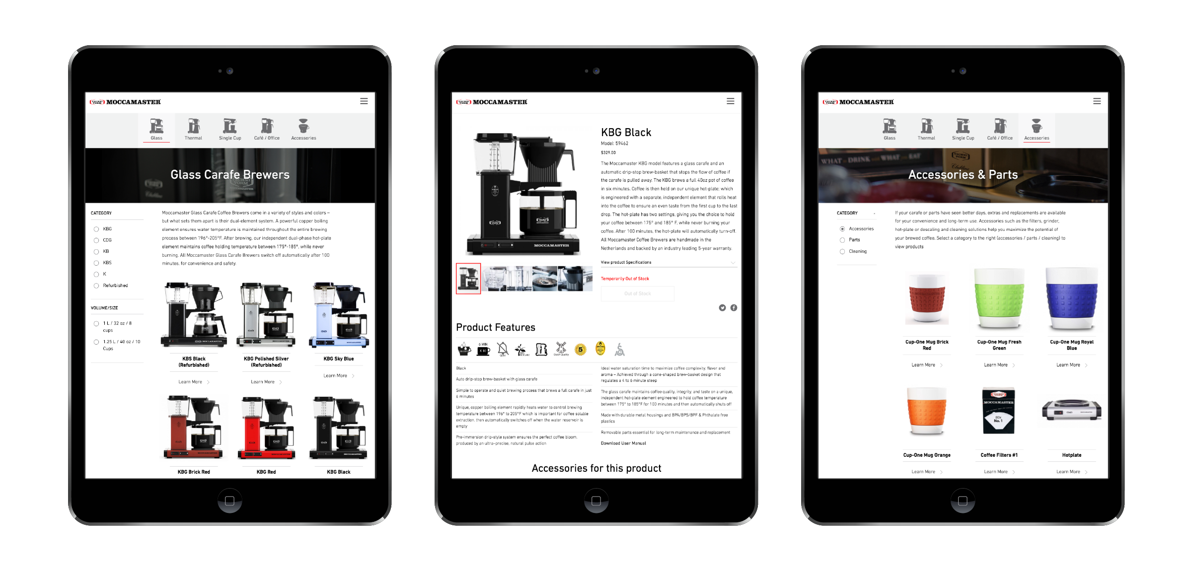 Moccamaster easy to navigate e-commerce pages