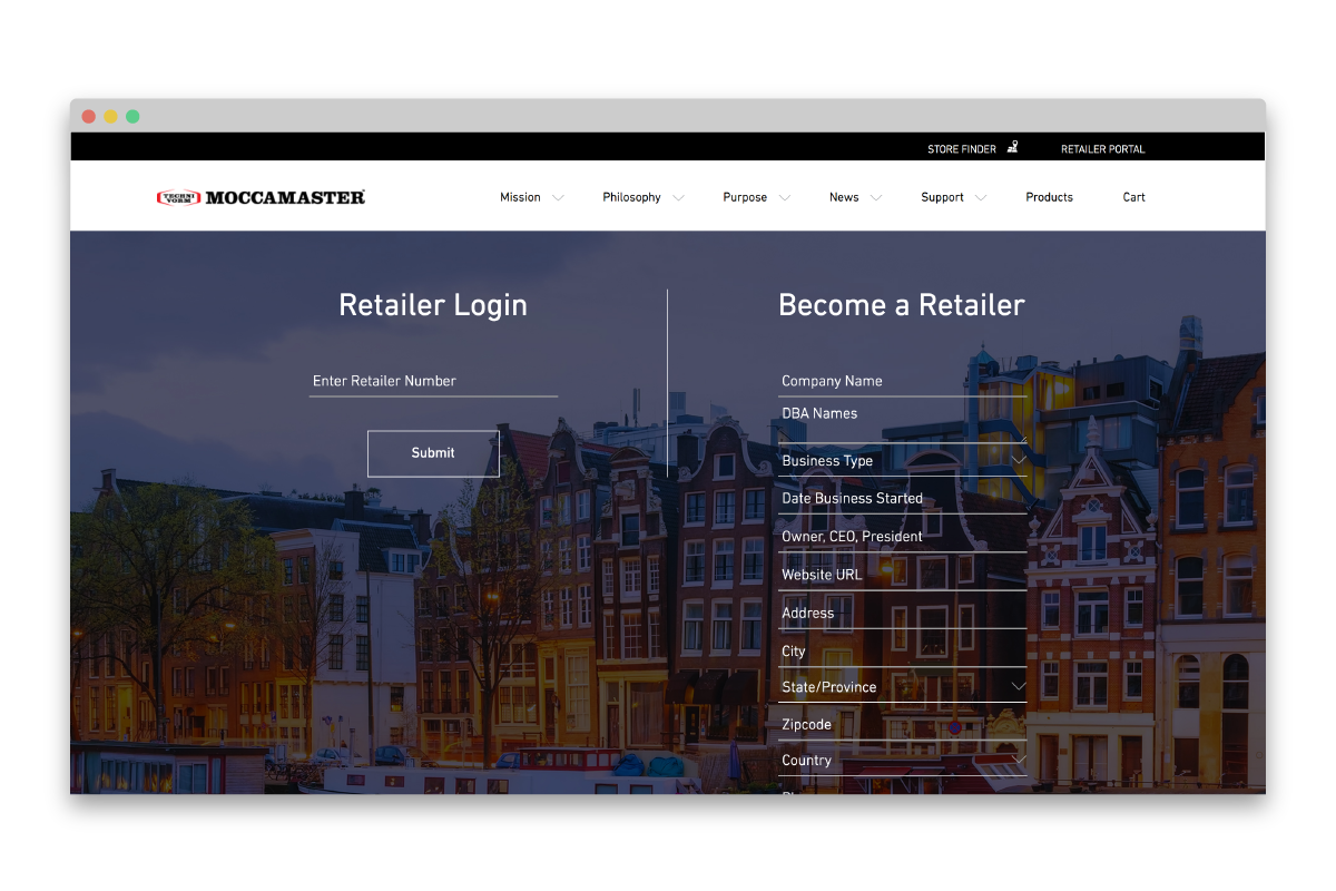 Moccamaster- Retailer portal screen shot