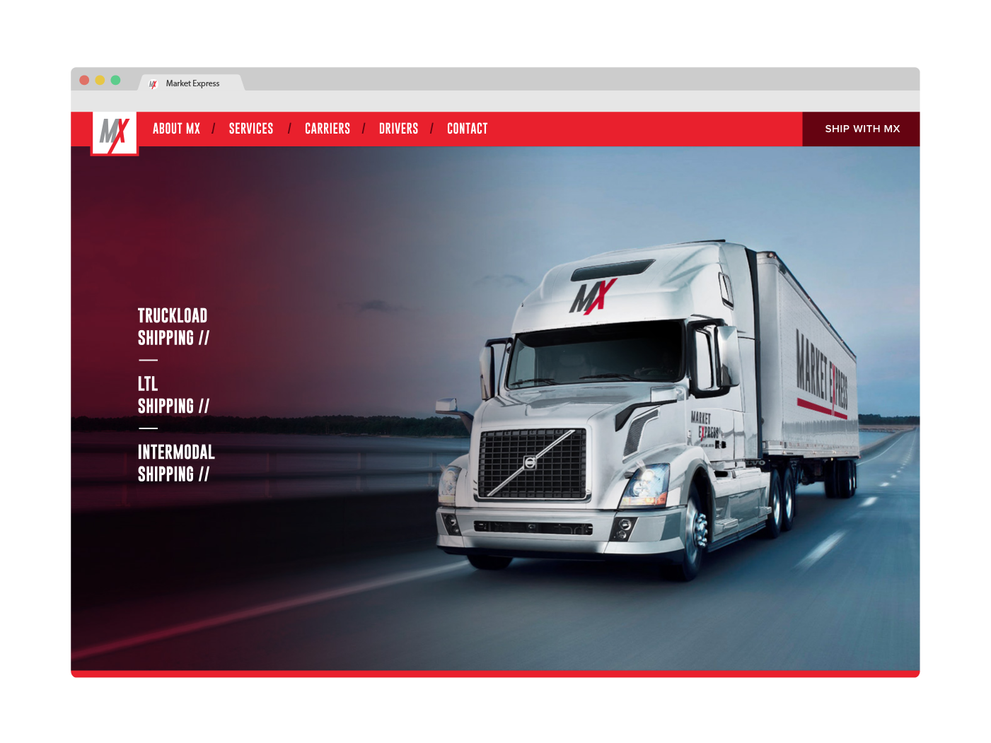 Market Express trucking website - homepage navigation