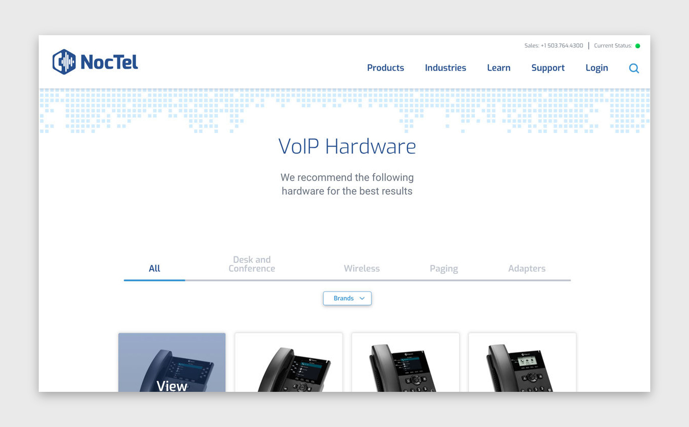NocTel Communications - Responsive Hardware Page with Filtering