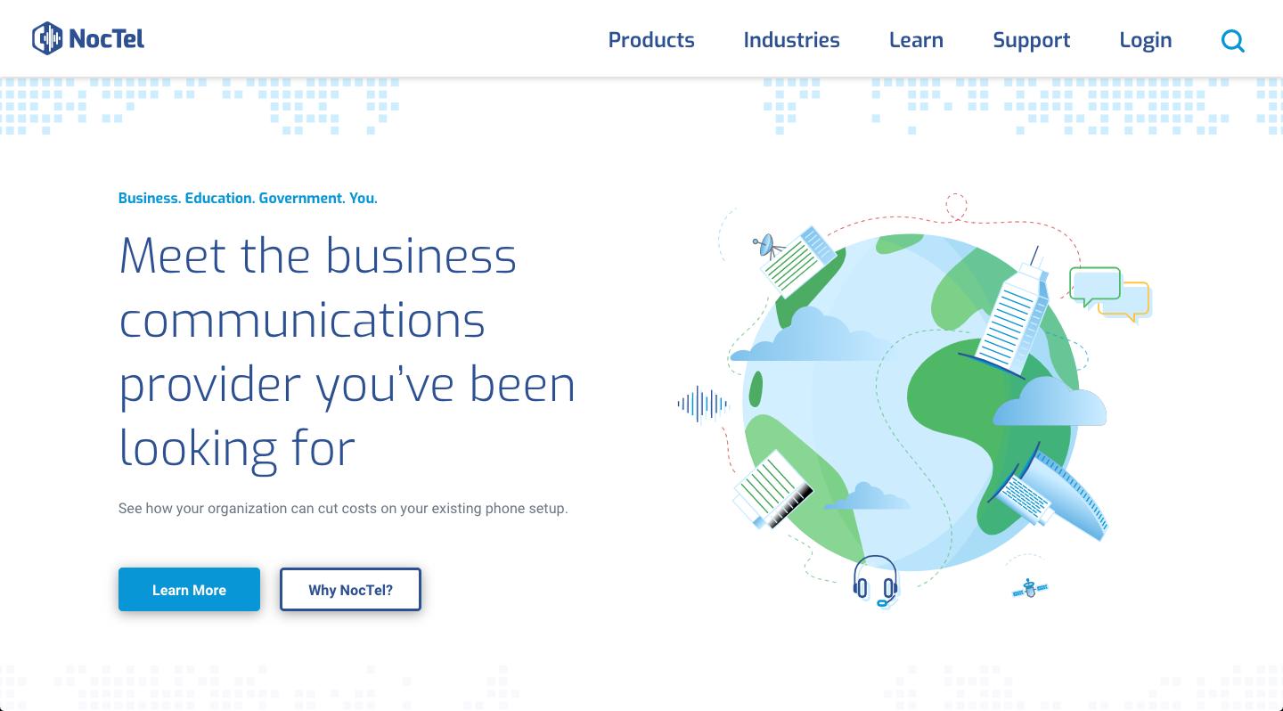 Noctel Communications - New Website Design on Desktop