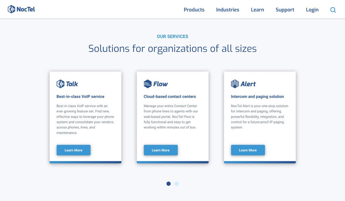Noctel Communications - Service Offerings on Desktop