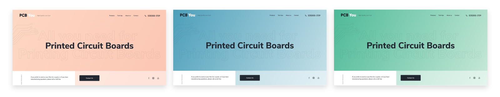 PCB You - Home page design ideas in color options