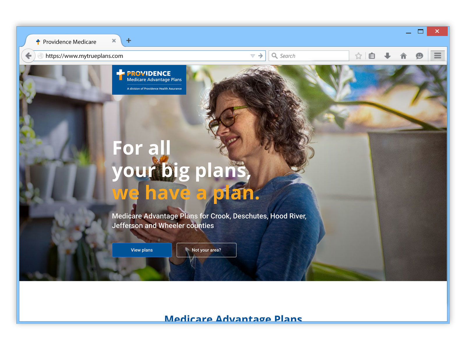 Providence Health and Services - Medicare enrollment website on Internet Explorer