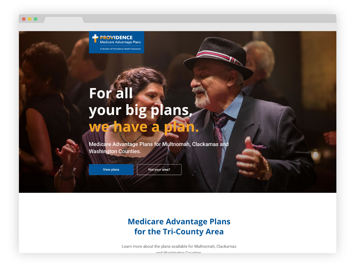 Providence Health and Services - Medicare enrollment website zipcode homepage