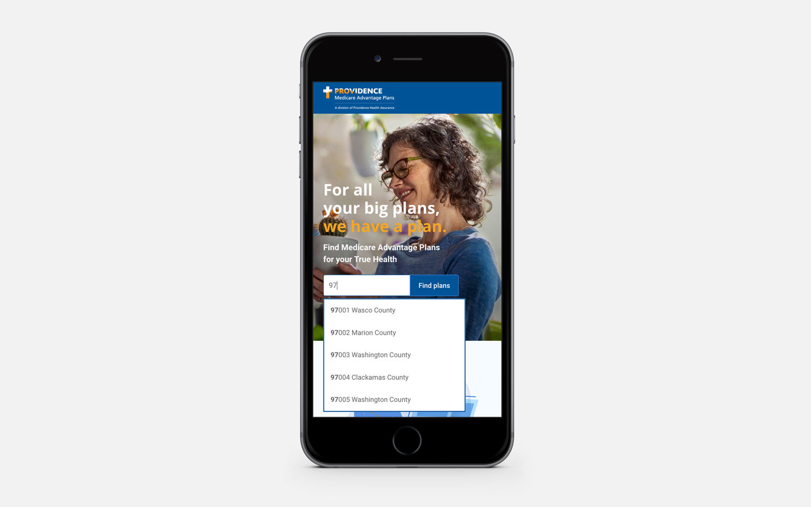 Providence Health and Services - responsive mobile Medicare enrollment website