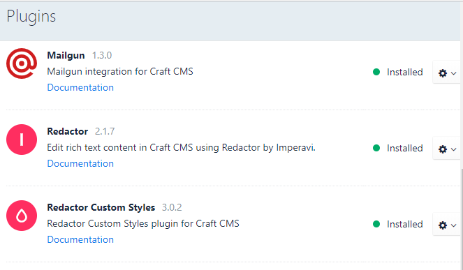 Custom Font Styles in Craft 3 CMS - installed plugins screenshot