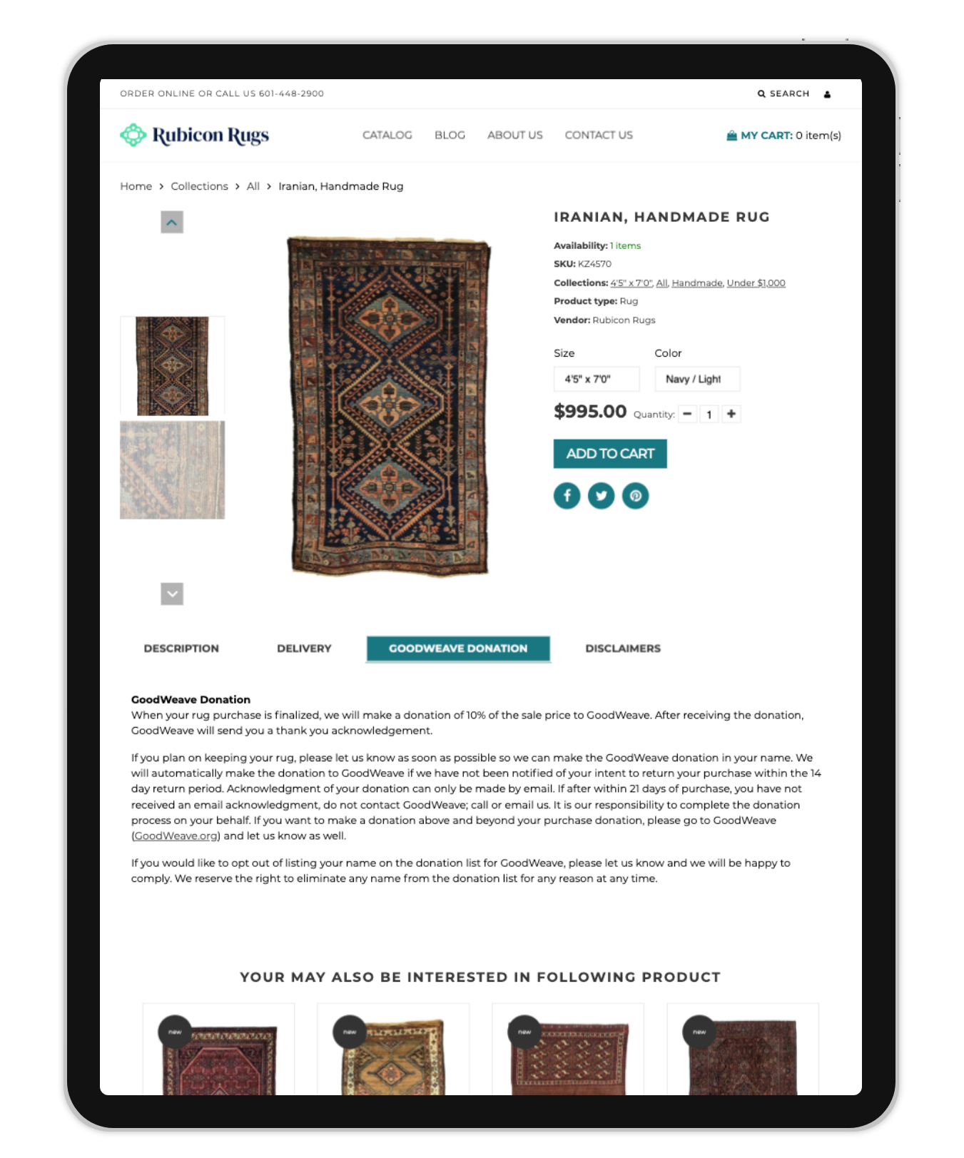 Rubicon Rugs - Development of Custom Tabs for Product Information