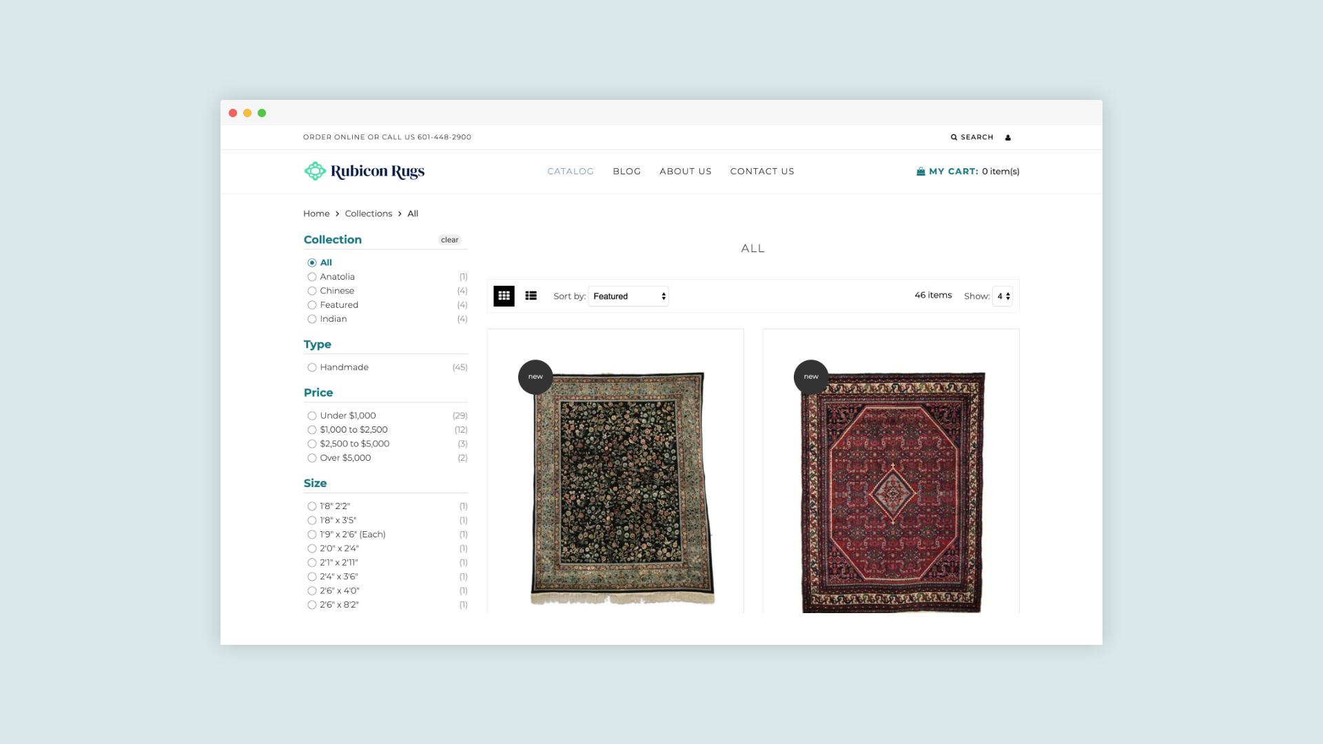 Rubicon Rugs - Responsive Desktop Design For E-commerce Product Grid