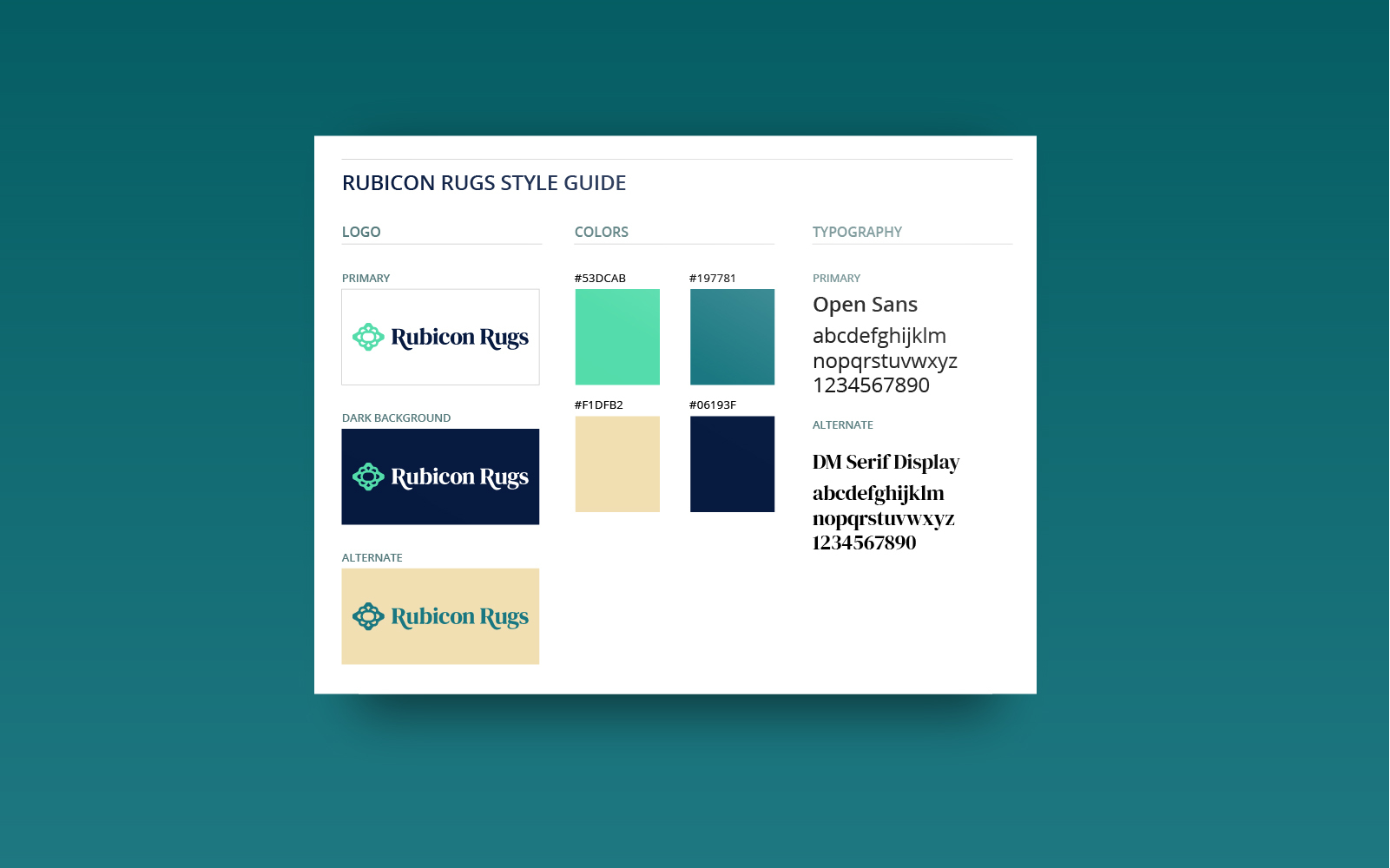 Rubicon Rugs Logo and Branding Style Guide