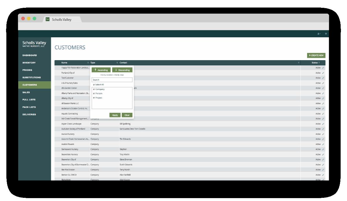 Scholls Valley Native Nurdery Inventory Management System customer page screenshot
