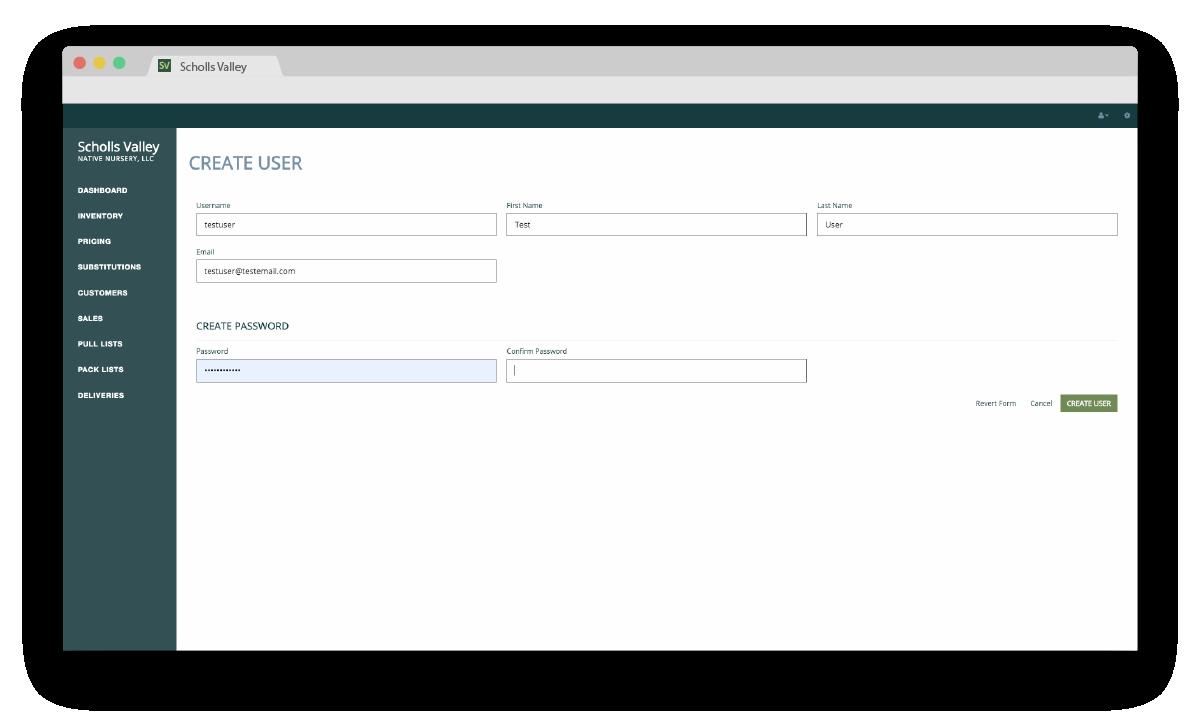 Scholls Valley Native Nursery Inventory Management System user login screenshot