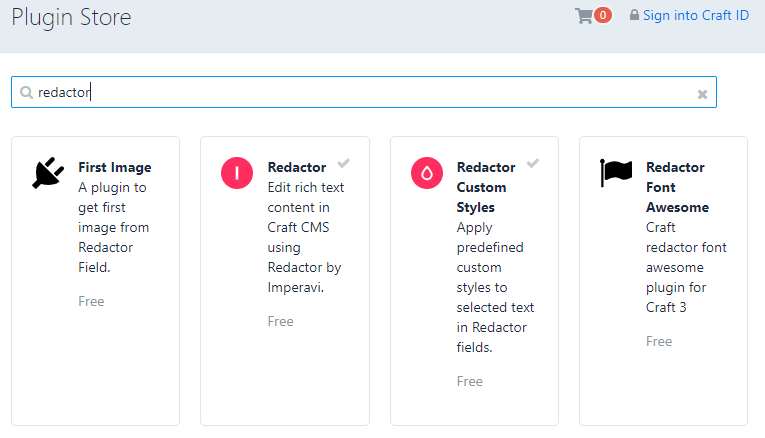 Custom Font Styles in Craft 3 CMS - search for redactor plugins screenshot