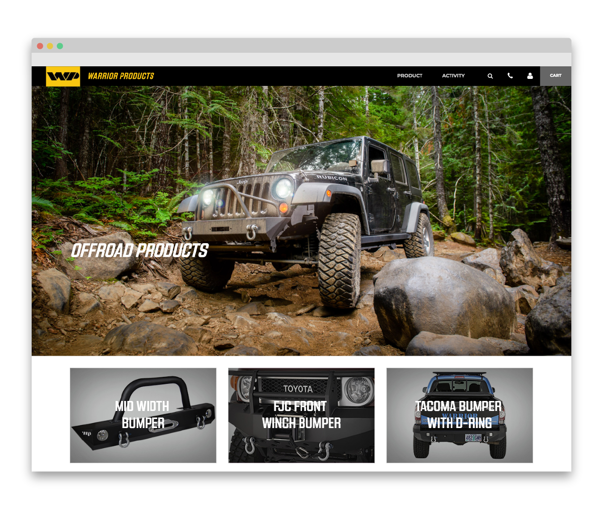 Warrior Products custom landing page - offroad