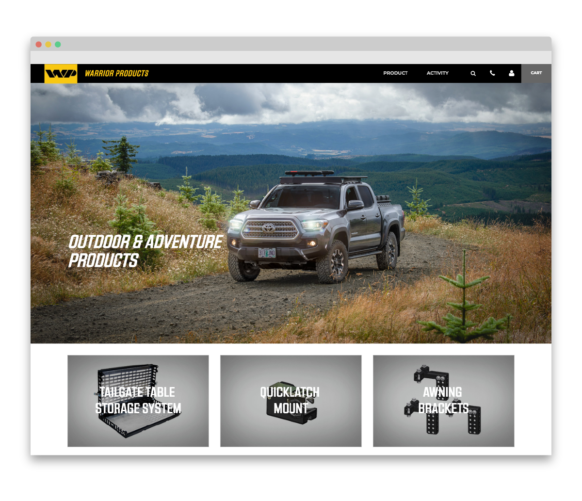 Warrior Products custom landing page - outdoor