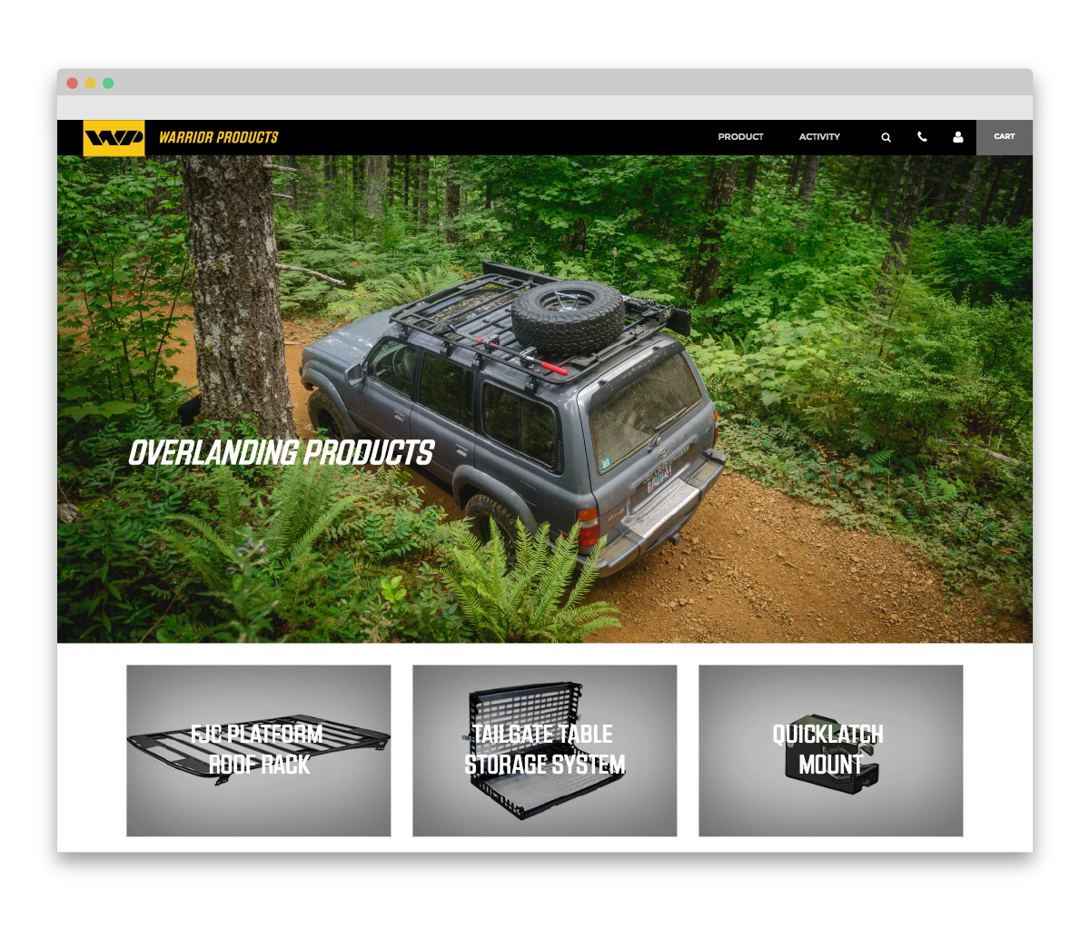 Warrior Products custom landing page - overlanding