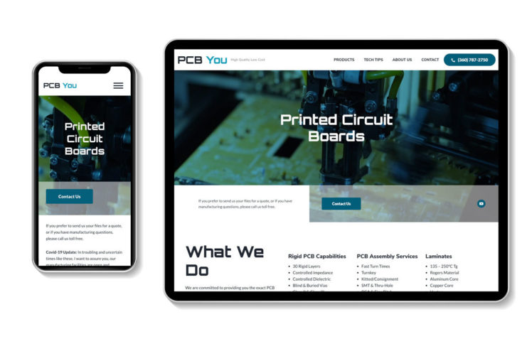 PCB You Home page - Responsive website on mobile phone and tablet