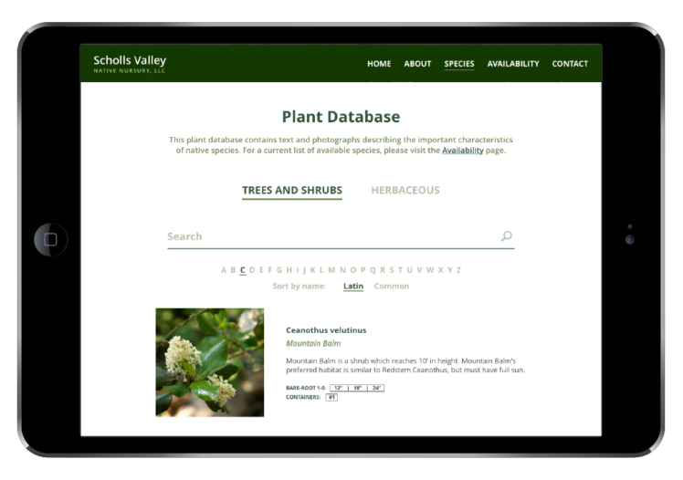 Scholls Valley Native Nursery plant database
