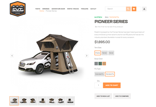 Cascadia Vehicle Tents website on tablet